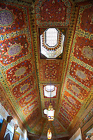 Berber Arabesque painted ceiling panels.The Grand Court, Bahia Palace, Marrakesh, Morroco
