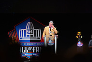 Canton, OH - August 6, 2016: Former NFL player Brett Favre gets emotional during his enshrinement speech at the Pro Football Hall of Fame Enshrinement Ceremony in Canton, Ohio, August 6, 2016, as the audience supported him with applause.  Favre played 20 seasons in the NFL and retired as the NFL's all-time leading passer with 6,300 completions, 10,169 attempts, 71,838 yards and 508 TDs(Photo by Don Baxter/Media Images International)