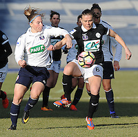 20170129 - LILLE , FRANCE : LOSC's Jana Coryn (L) and Juvisy's Sandrine Dusang (R) pictured during women soccer game between the women teams of Lille OSC and FFC Juvisy Essonne  during the 1/16 final for the 2017 French Cup at stade Lille Metropole , Sunday 29th of January ,  PHOTO Dirk Vuylsteke | Sportpix.Be