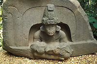 Olmec altar at the Parque Museo Laventa in Villahermosa, Tabasco. Mexico. This outdoor archaeology museum and ecological park was created by Mexican poet Carlos Pellicer in 1957.