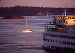 Ferry at Orcas at sunset