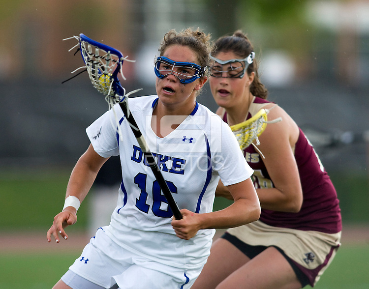 Kim Wenger (16) of Duke carries the ball forward during the first round of the ACC Women's Lacrosse Championship in College Park, MD.  Duke defeated Boston College, 17-6.