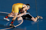 12 MAR 2011: Trevor Franklin of Upper Iowa wrestles Alex Meger of Augustana  during the Division II Men's Wrestling Championship held at the UNK Health and Sports Center on the University of Nebraska - Kearney campus in Kearney, NE. Franklin defeated Meger 3-0 to win the 125-lb national title. Corbey R. Dorsey/ NCAA Photos