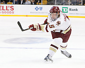 Philip Samuelsson (BC - 5) - The Boston College Eagles defeated the Boston University Terriers 3-2 (OT) in their Beanpot opener on Monday, February 7, 2011, at TD Garden in Boston, Massachusetts.