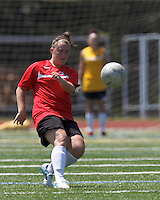 Aztec MA midfielder Maddie Bissaillon (13) passes the ball. In a Women's Premier Soccer League (WPSL) match, Aztec MA defeated CFC Passion, 4-0, at North Reading High School Stadium on July 1, 2012.