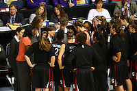 6 April 2008: Stanford Cardinal (not in order) head coach Tara VanDerveer, associate head coach Amy Tucker, video coordinator Evan Unrau, coaching intern Jackie Zink, assistant coach Bobbie Kelsey, Melanie Murphy, Jayne Appe, Michelle Harrison, JJ Hones, Candice Wiggins, Cissy Pierce, Kayla Pedersen, Hannah Donaghe, Rosalyn Gold-Onwude, Jeanette Pohlen, Ashley Cimino, Morgan Clyburn, and Jillian Harmon during Stanford's 82-73 win against the Connecticut Huskies in the 2008 NCAA Division I Women's Basketball Final Four semifinal game at the St. Pete Times Forum Arena in Tampa Bay, FL.