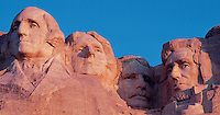 South Dakota, Mount Rushmore National Monument in Black Hills, giant busts of four US presidents, George Washington, Thomas Jefferson, Theodore Roosevelt and  Abraham Lincoln, Carved 1927-1941 by sculpture Gutzon Borglum, These United States pages 90-91