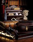 Library desk with antique desk items david bust,calipers,writing tools