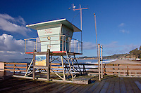 The empty lifeguard tower stands vigil over Seacliff State Beach south of Santa Cruz on a chilly November morning.