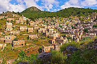 Kayaköy (Kayakoy) or Karmylassos, an abandoned Greek Village 8km from Fethiye in Turkey whose inhabitants left as part of a  population exchange agreement between the Turkish and Greek governments in 1923 after the Greco Turkish War.