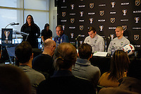 Toronto, ON, Canada - Thursday Dec. 08, 2016: Brian Schmetzer, Jordan Morris, Osvaldo Alonso during a press conference prior to MLS Cup at the Kia Training Grounds.