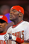 20 June 2008: Washington Nationals' outfielder Elijah Dukes returns to the dugout after connecting for the game winning RBI walk-off single in the 14th inning of the first game in their 3-game series against the Texas Rangers at Nationals Park in Washington, DC. Dukes hit a game-tying solo homer in the eighth, and the winning RBI in the 14th, leading the Nationals to their 4-3 win over the Rangers in their inter-league matchup...Mandatory Photo Credit: Ed Wolfstein Photo