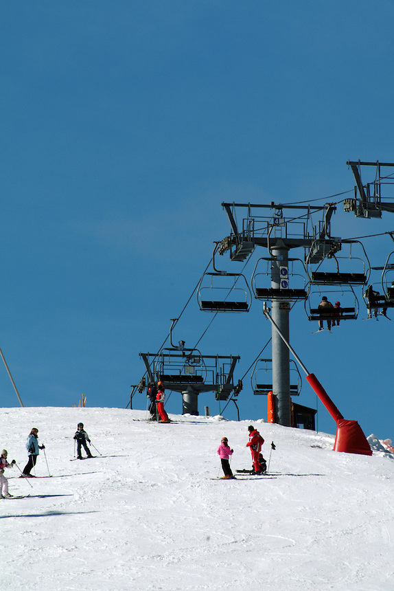 A ski lift in the village of La Mongie in the High Pyrenees, France.