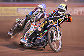 Heat 13: Peter Karlsson (yellow) ahead of Peter Ljung - Lakeside Hammers vs Wolverhampton Wolves - Elite League Speedway at Arena Essex Raceway - 16/05/11 - MANDATORY CREDIT: Gavin Ellis/TGSPHOTO - Self billing applies where appropriate - Tel: 0845 094 6026