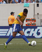 Brazil forward Hulk (20) takes a shot. In an international friendly (Clash of Titans), Argentina defeated Brazil, 4-3, at MetLife Stadium on June 9, 2012.