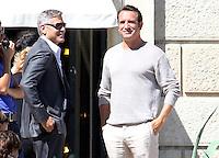 George Clooney, his fiancee Amal Alamuddin & Jean Dujardin on the set of 'NESPRESSO'  - Italy