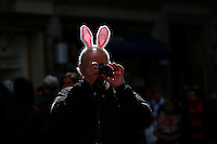 A man wears bonny-ears while he takes part during the annual easter parade in Manhattan, New York, 03.27.2016. This annual tradition has been taking place in New York City for over 100 years, Photo by VIEWpress.
