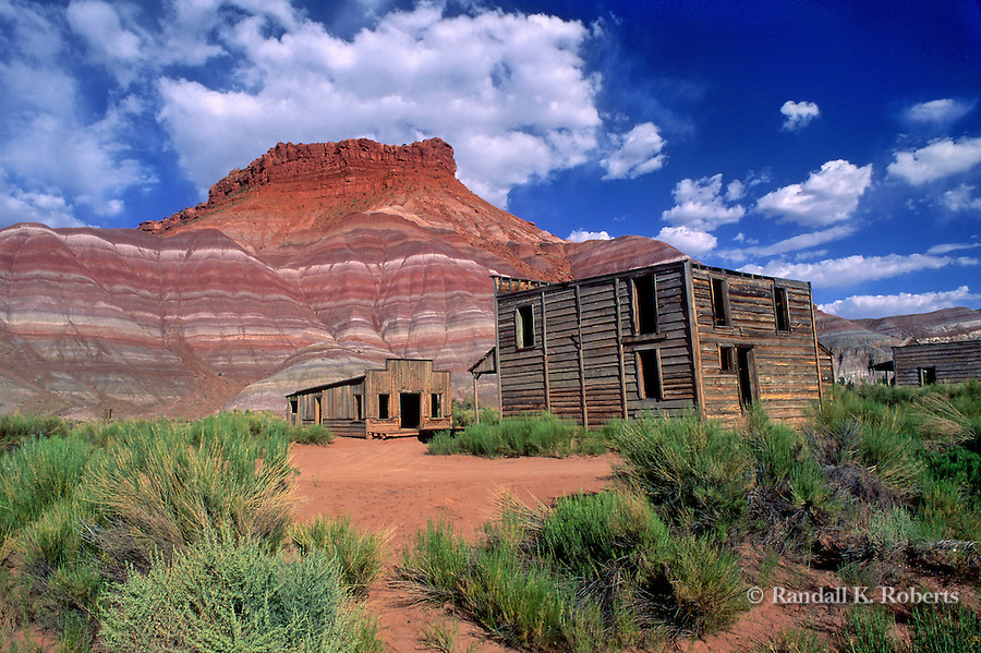 "Old Paria ghost town movie set sits abandoned in the desert near Kanab, Utah in the Grand Staircase Escalante National Monument.   The structures here were built for Hollywood westerns like ""The Outlaw Josey Wales"" and the TV series ""Gunsmoke."""