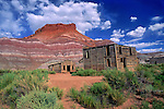 """Old Paria ghost town movie set sits abandoned in the desert near Kanab, Utah in the Grand Staircase Escalante National Monument.   The structures here were built for Hollywood westerns like """"The Outlaw Josey Wales"""" and the TV series """"Gunsmoke."""""""