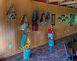 A display of hand-made birdhouses for sale along the wall in the new function room at General's Ridge Vineyard and Winery.