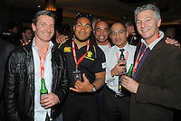 Ma'a Nonu with Ricoh staff at the Wellington Lions Ricoh jersey launch at Black Sparrow Bar, Embassy Theatre, Wellington, New Zealand on Wednesday, 1 August 2012. Photo: Dave Lintott / lintottphoto.co.nz