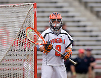 Adam Ghitelman (8) watches the opposing team during the ACC men's lacrosse tournament finals in College Park, MD.  Virginia defeated Maryland, 10-6.
