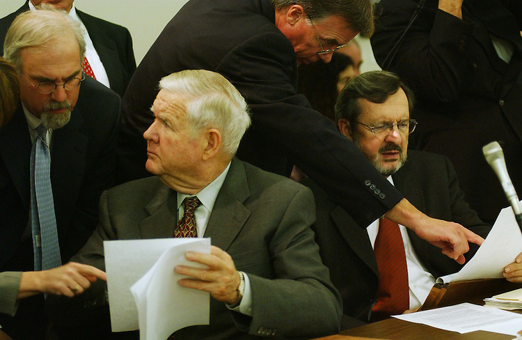 10/28/03.FISCAL 2004 SUPPLEMENTAL IRAQ AND AFGHANISTAN OPERATIONS/CONFERENCE COMMITTEE--Rep. John P. Murtha, D-Pa., and House Appropriations ranking Democrat David R. Obey, D-Wis., consult with aides as House and Senate conferees gather to consider legislation that would make supplemental fiscal 2004 appropriations for operation in Iraq and Afghanistan. .CONGRESSIONAL QUARTERLY PHOTO BY SCOTT J. FERRELL