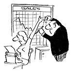 (Man in office using his secretary's arm to draw a line on his sales chart)