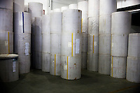 "Rolls of paper used to print Bibles sit in a warehouse in the Amity Printing Company's new printing facility in Nanjing, China....On May 18, 2008, the Amity Printing Company in Nanjing, Jiangsu Province, China, inaugurated its new printing facility in southern Nanjing.  The facility doubles the printing capacity of the company, now up to 12 million Bibles produced in a year, making Amity Printing Company the largest producer of Bibles in the world.  The company, in cooperation with the international organization the United Bible Societies, produces Bibles for both domestic Chinese use and international distribution.  The company's Bibles are printed in Chinese and many other languages.  Within China, the Bibles are distributed both to registered and unregistered Christians who worship in illegal ""house churches."""