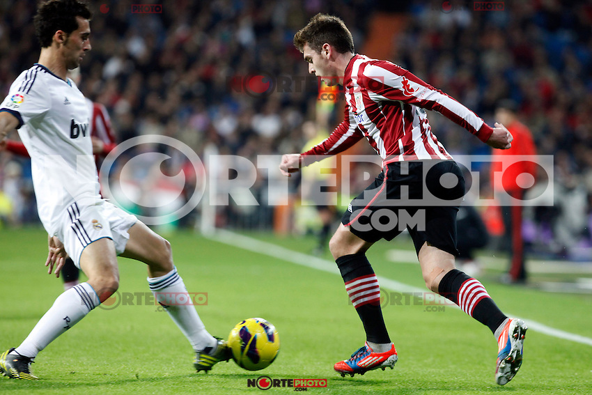 Real Madrid CF vs Athletic Club de Bilbao (5-1) at Santiago Bernabeu stadium. The picture shows Ibai and Alvaro Arbeloa. November 17, 2012. (ALTERPHOTOS/Caro Marin) NortePhoto