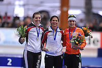 SCHAATSEN: ERFURT: Gunda Niemann Stirnemann Eishalle, 22-03-2015, ISU World Cup Final 2014/2015, Podium 1000m Ladies, Heather Richardson (USA), Brittany Bowe (USA), Marrit Leenstra (NED), ©foto Martin de Jong