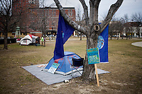 A few tents were erected as part of the Occupy New Hampshire and Occupy the Primary gathering in Veterans Memorial Park in Manchester, New Hampshire on Jan. 7, 2012.  The New Hampshire GOP presidential primary is on Jan. 10.