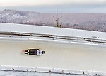 9 January 2016: John Farrow, competing for Australia, slides through Curve 14 on his second run of the day during the BMW IBSF World Cup Skeleton Championships at the Olympic Sports Track in Lake Placid, New York, USA. Farrow ended the day with a combined 2-run time of 1:51.43 and a 17th place overall finish. Mandatory Credit: Ed Wolfstein Photo *** RAW (NEF) Image File Available ***