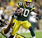 Green Bay's Donald Driver is pulled down by Pittsburgh's Ike Taylor at the Pittsburgh 4-yard line after a 17-yard Brett Favre pass in the 3rd quarter. .The Green Bay Packers hosted the Pittsburgh Steelers at Lambeau Field Sunday November 6, 2005. Steve Apps-State Journal.