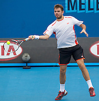 STANLINAS WAWRINKA (SUI) against NICOLAS ALMAGRO (ESP) in the third round of the men's singles. Nicolas Almagro beat Stalinas Wawrinka 7-6 6-2 6-4..20/01/2012, 20th January 2012, 20.01.2012..The Australian Open, Melbourne Park, Melbourne,Victoria, Australia.@AMN IMAGES, Frey, Advantage Media Network, 30, Cleveland Street, London, W1T 4JD .Tel - +44 208 947 0100..email - mfrey@advantagemedianet.com..www.amnimages.photoshelter.com.