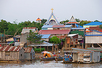 Phnom Penh, Cambodia. Sunset cruise to the confluence of Tonle Sap and Mekong river. Areyksat village.