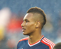 New England Revolution midfielder Juan Agudelo (10). In a Major League Soccer (MLS) match, the New England Revolution (blue) defeated Toronto FC (red), 2-0, at Gillette Stadium on May 25, 2013.