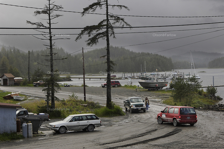 A traffic jam in Coffman Cove, population 200,  The community on Prince of Wales Island was settled as a logging town. They are building a landing for a ferry terminal which everyone says will change the town.