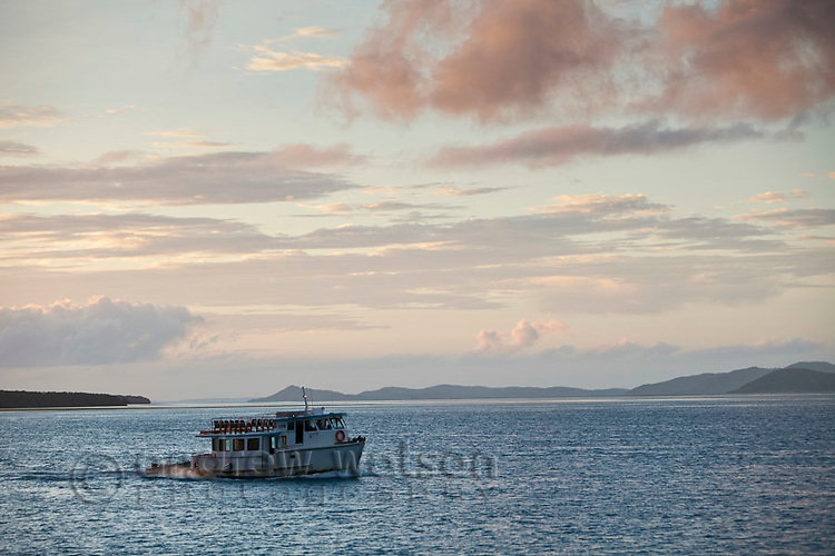Passenger ferry crossing the Ellis channel between Horn Island and Thursday Island.  Thursday Island, Torres Strait Islands, Queensland, Australia