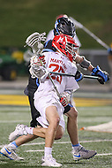 College Park, MD - April 29, 2017: Maryland Terrapins Dylan Maltz (25) in action during game between John Hopkins and Maryland at  Capital One Field at Maryland Stadium in College Park, MD.  (Photo by Elliott Brown/Media Images International)