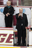 Carina and Jim Logue. Retired goaltender coach and Boston College Hall of Famer Jim Logue was honored prior to the game. - The Boston College Eagles defeated the visiting University of New Hampshire Wildcats 6-2 on Friday, December 6, 2013, at Kelley Rink in Conte Forum in Chestnut Hill, Massachusetts.