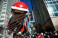 USA, New York, Nov 28, 2013. The Elf on the Shelf balloon hits the power cords while it floats during the 87th Macy's Thanksgiving Day Parade in New York City. Photo by VIEWpress/Eduardo Munoz Alvarez