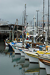 Boats dock at Fisheman's Wharf in San Francisco