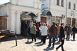 Travel stock photo of a Group of tourists entering the caves of Kievo-pecherskaya lavra - Kiev pechersk lavra - Cave monastery in Kiev Ukraine Eastern Europe Entrance to the caves Horizontal orientation May 2007
