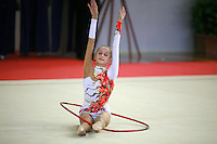 Natalia Pichuzhkina of Russia begins hoop routine during junior AA competition at 2006 Trofeo Cariprato in Prato, Italy on June 17, 2006. Natalia took 2nd place in juniors at this international invitational.  (Photo by Tom Theobald)