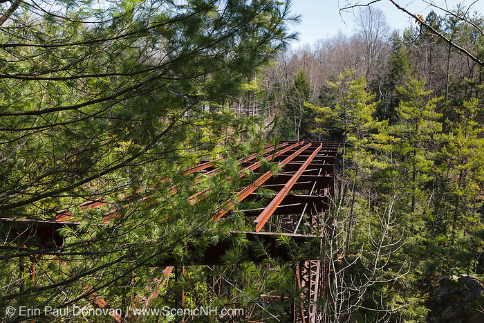 """Remnants of the """"Pumpkin Seed Bridge"""" at Livermore Falls in Campton, New Hampshire USA. This bridge was erected in 1886 by the Berlin Iron Bridge Company and crossed the Pemigewasset River. It is 263 feet long and closed 1959"""
