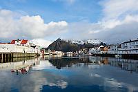 Harbor in village of Henningsvaer, Lofoten islands, Norway