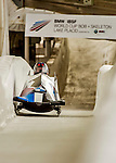 8 January 2016: Steven Holcomb, piloting his 2-man bobsled for the United States of America, enters the Chicane straightaway on his first run, ending the day with a combined 2-run time of 1:51.00 and earning the gold medal at the BMW IBSF World Cup Championships at the Olympic Sports Track in Lake Placid, New York, USA. Mandatory Credit: Ed Wolfstein Photo *** RAW (NEF) Image File Available ***