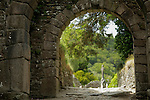 Europe, Ireland, Glendalough. Gateway at Glendalough.