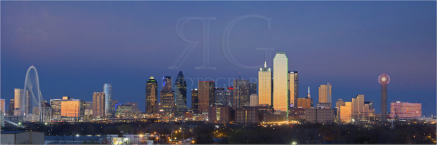 From the east side of Dallas, this Dallas skyline panorama is a stitch of several images taken about 20 minutes after dark. On the far left, you can see the new Margaret Hunt Hill Bridge and on the far right stands the iconic Reunion Tower. Reunion Tower is the 5th tallest observatory in the United States...In the middle of the image, outlined is green, is the tallest building in Dallas, the 72-story Bank of America Plaza. The Bank of America Plaza is, at the time of this posting, the 22nd tallest building in the United States and 3rd tallest in Texas. To the left of the America Plaza is the Renaissance Tower, a 56-story building finished in 1987. Further to the left of the Renaissance Tower and the Bank of America Plaza stands the triangular, 62-floor Fountain Place...These buildings, along with many others, give the Dallas skyline a classic feel and a sight worthy of viewing.